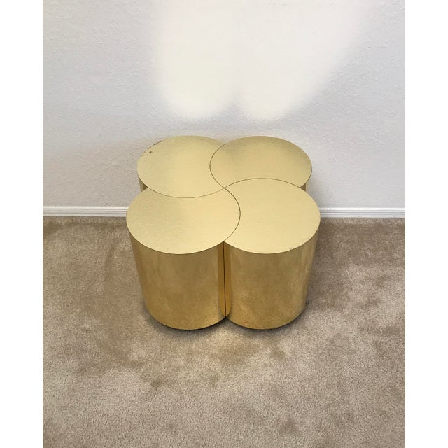 Hollywood Regency Curtis Jeré Mid-Century Modern Brass Clover Table For Sale - Image 3 of 13
