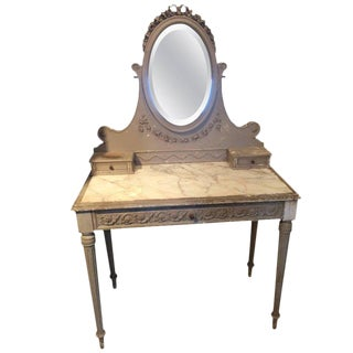 Romantic Painted Wood and Marble French Vintage Vanity For Sale