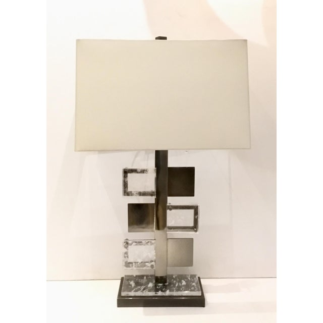 2010s Arteriors Modern Steel and Crystal Pearlman Table Lamp For Sale - Image 5 of 5