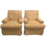 Image of Pair of Tweed Swivel O Henry House Ltd Finely Covered Arm Lounge Chairs For Sale