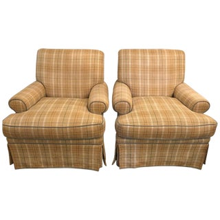 Pair of Tweed Swivel O Henry House Ltd Finely Covered Arm Lounge Chairs For Sale