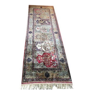 Early 20th Century Antique Silk Turkish Saph Runner Rug - 2′7″ × 8′ For Sale