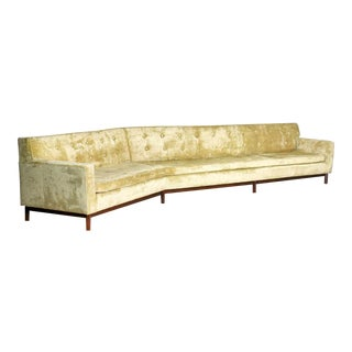 14 Foot Angled Mid-Century Modern Green Velvet Sofa Style Dunbar by Edward Wormley For Sale