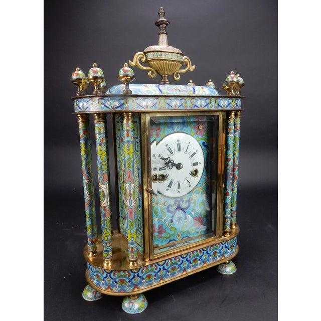 "Chinese Export Bronze and Cloisonné Mantle Clock Excellent Working Condition 19"" For Sale - Image 12 of 13"