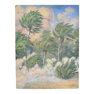 """1930's French Impressionist Oil Painting, """"Arrivee du Vent de Sable"""" by Pottier For Sale"""