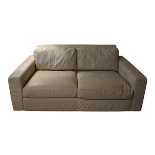 Modern Cream Colored Leather Couch