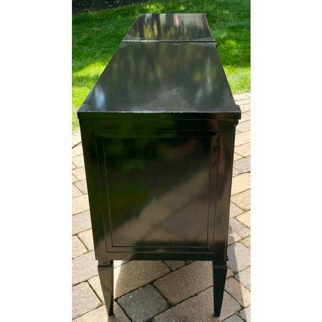 Metal Neoclassical Style Black Lacquered Small Night Stands-A Pair For Sale - Image 7 of 8