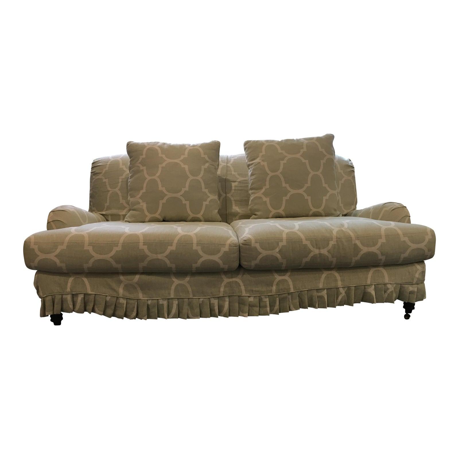 Lee Industries Seafoam Green Linen Windsor Smith Slipcovered Sofa