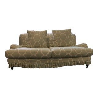 Lee Industries Seafoam Green Linen Windsor Smith Slipcovered Sofa