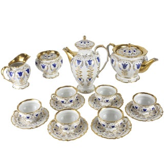 19th Century Porcelain Tea & Coffee Service for Six by k.p.m For Sale