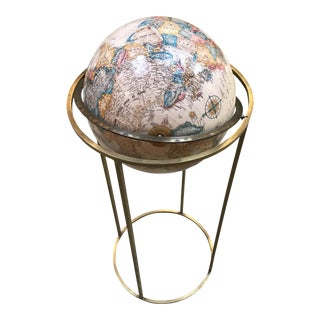 Paul McCobb Style Mid Century Globe on a Brass Stand For Sale