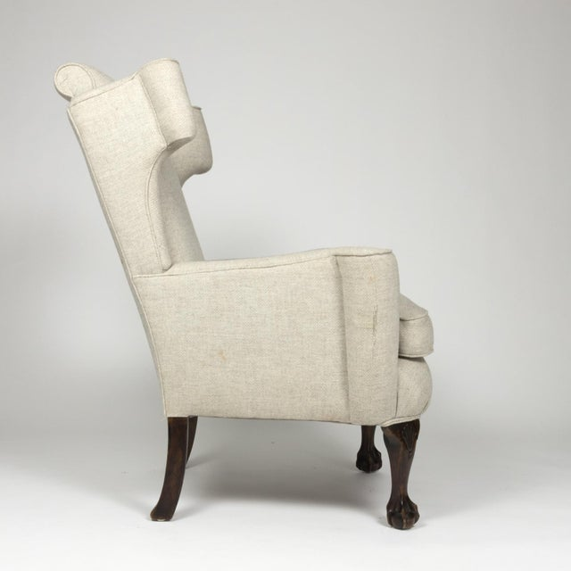 Traditional Large Scale English Wing Chair With Mahogany Frame, Carved Mahogany Ball And Claw Feet, Circa 1870 For Sale - Image 3 of 13
