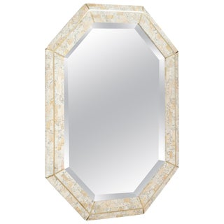 Maitland Smith Octagonal Tessellated Stone and Inlaid Brass Mirror For Sale