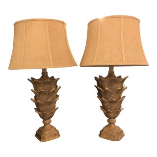 Palm Tree Form Carved Wooden Table Lamps Manner of Serge Roche With Shades - a Pair For Sale