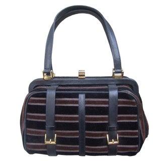 Saks Fifth Avenue Striped Velvet Handbag Made in Italy For Sale