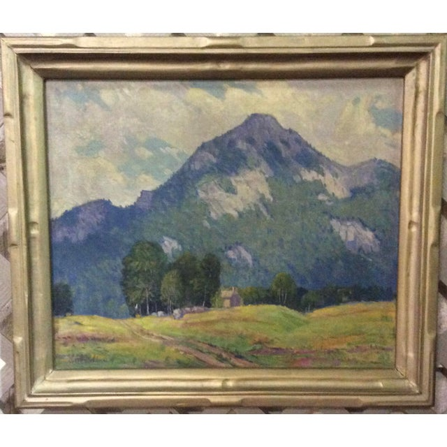 Ralph Senecal Cabin in Mountain Landscape Oil on Canvas Painting For Sale - Image 4 of 4
