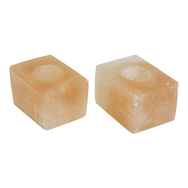 Pink Calcite Votive Candle Holders - A Pair - Image 1 of 7