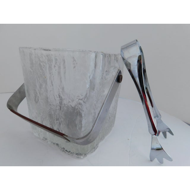 Mid Century Textured Hoya Glass Ice Bucket and Tongs For Sale - Image 10 of 13
