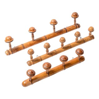 1940s Antique French Faux Bamboo Coat Rack - Set of 3