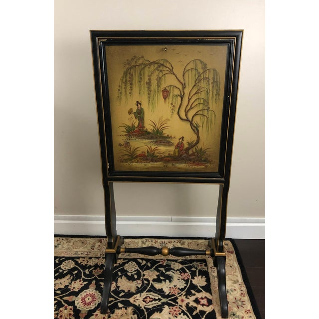 Antique Chinoiserie Writing Desk With Fold-Down Writing Surface For Sale - Image 12 of 12