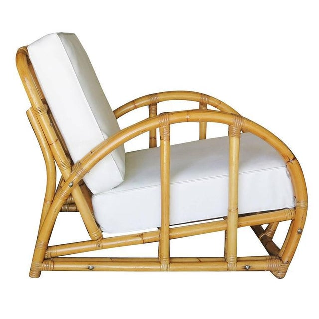 Restored Half Moon Rattan Two Strand Lounge Chair - Image 2 of 6