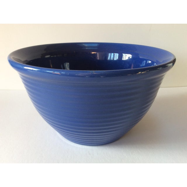 "Excellent ribbed pottery bowl by Bauer Pottery of Los Angeles. Measures 5"" high x 8.5"" diameter at rim."
