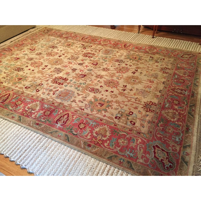 Designer Wool Rug Cream & Red - 8' x 11' - Image 3 of 10