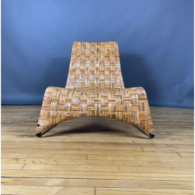 Continental Woven Cane and Blackened Steel Lounge Chair For Sale - Image 10 of 12