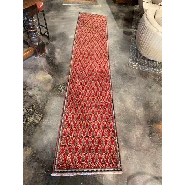 Red Persian Hand-Tied Wool Mir Runner Rug - 2″ × 11″ For Sale - Image 8 of 9
