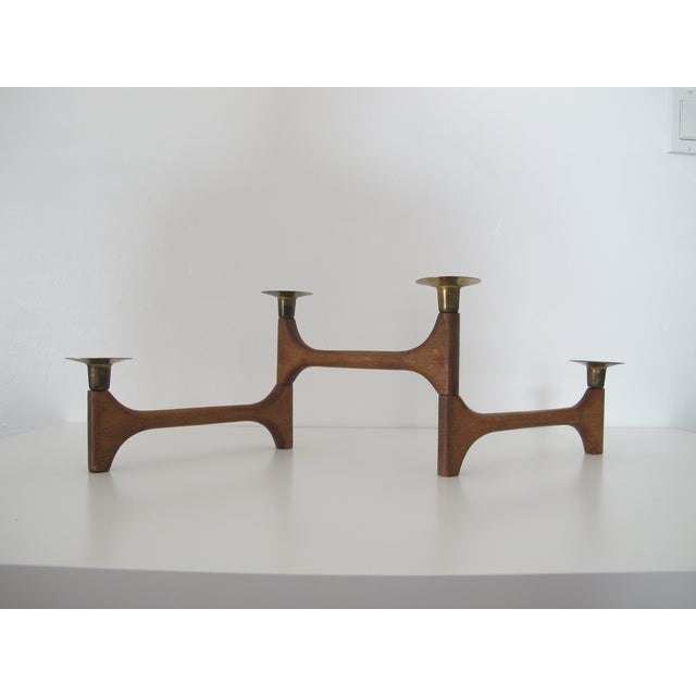Mid-Century Wood and Brass Candelabra - Image 3 of 8
