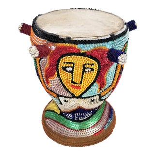 1970s Vintage Haitian La Sirene Mermaid Beaded Drum For Sale