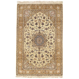 "Persian Isfahan Hand Knotted Silk & Korker Wool Signed Rug- 7'10"" X 5'1"" For Sale"