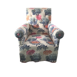 Jon Stefanidis Floral Fabric Skirted Armchair For Sale