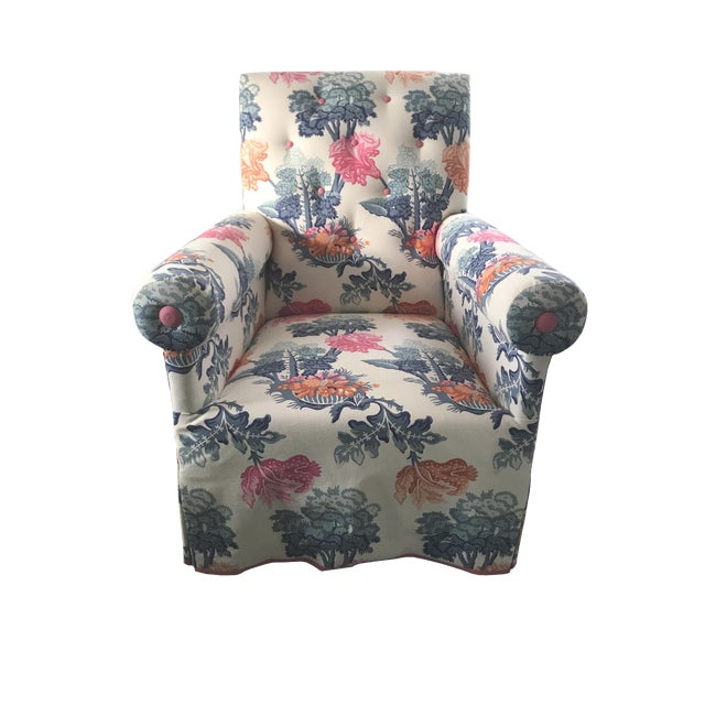 Jon Stefanidis Floral Fabric Skirted Armchair - Image 1 of 6