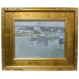 Modern California Boat Harbor Oil Painting Signed Paul Strahm For Sale
