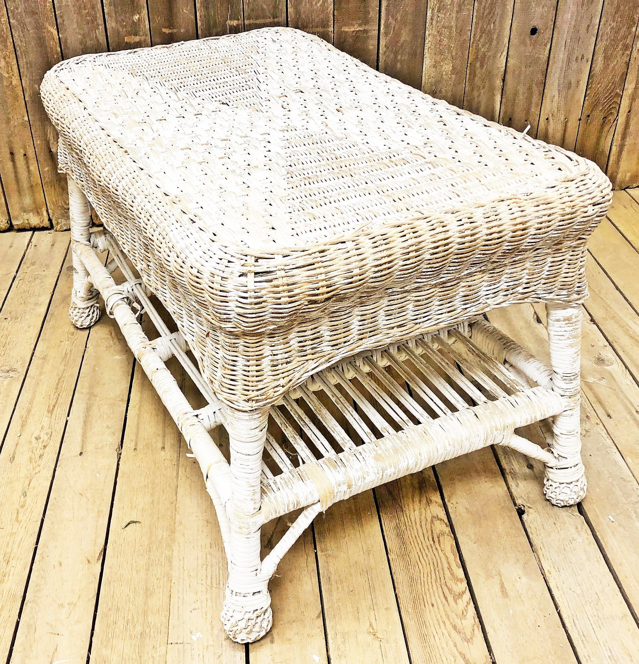 vintage white wicker coffee table | chairish