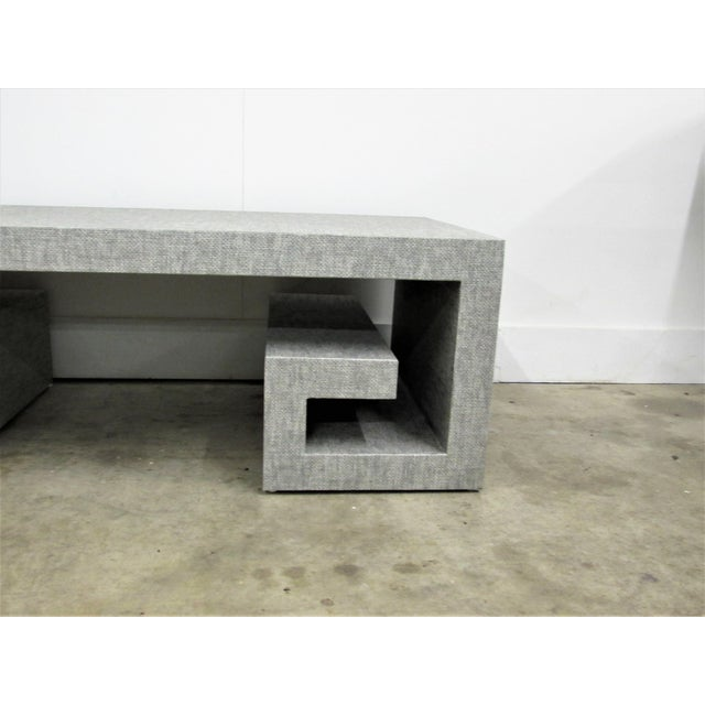 Hollywood Regency Jansen Manner Handcrafted High End Coffee Table with Greek Key Base For Sale - Image 3 of 10