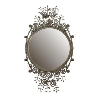 French Art Deco Style Wrought Iron Wall Mirror For Sale