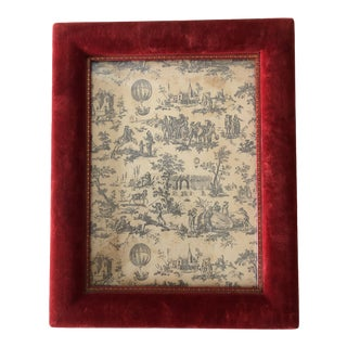 Vintage 1950's Red Velvet & Tooled Leather Italian Photo Frame 7 X 9 For Sale