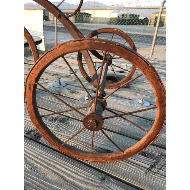 Metal Early 1900s Antique Industrial Cast Iron Tricycle For Sale - Image 7 of 13