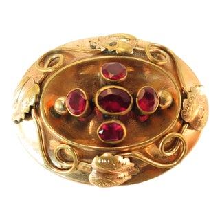 Victorian 10k Gold & Garnet Hollow-Ware Brooch 1860s For Sale