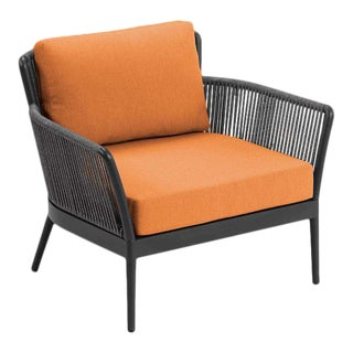 Outdoor Club Chair, Carbon and Tangerine For Sale