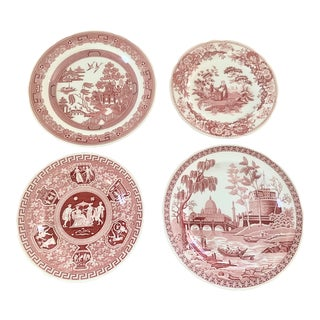 Cranberry Spode Wall Plates, Set of Four For Sale