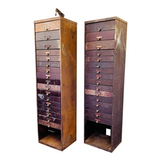 Industrial Metal Watchmaker/Jeweler Parts Cabinets - a Pair For Sale