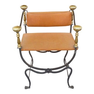 19th Century Italian Brass and Iron Savonarola Chair For Sale