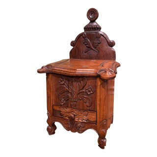 Midcentury French Louis XV Carved Oak Salt Box From Provence For Sale