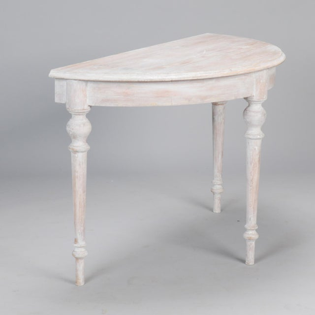 White Painted Demi Lune Tables With Leaf - a Pair For Sale In Detroit - Image 6 of 6
