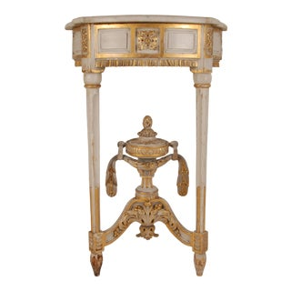 18th Century French Carved Wood and Marble Console Table For Sale