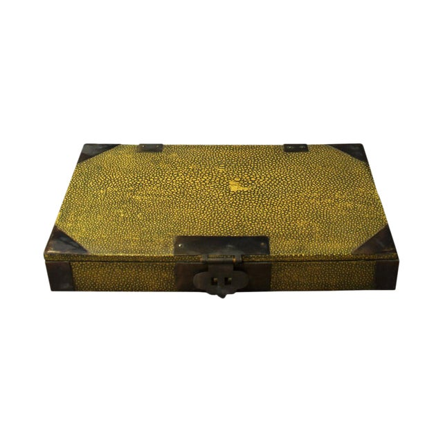 Vintage Chinese Yellow Rectangular Box For Sale