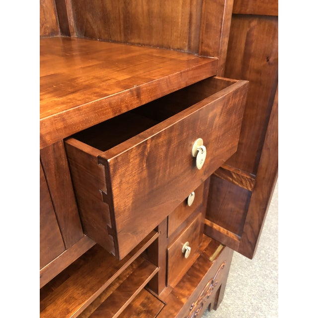 Asian Style Walnut Bar or Media Armoire For Sale - Image 9 of 13